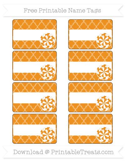 Free Carrot Orange Moroccan Tile Cheer Pom Pom Tags