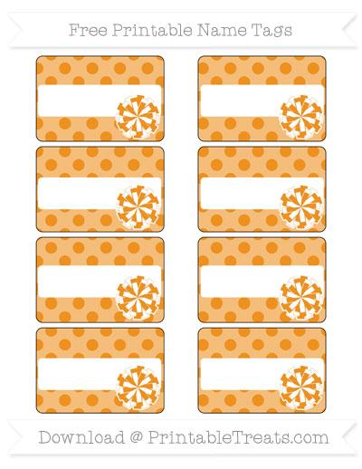 Free Carrot Orange Polka Dot Cheer Pom Pom Tags