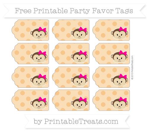 Free Carrot Orange Polka Dot Girl Monkey Party Favor Tags