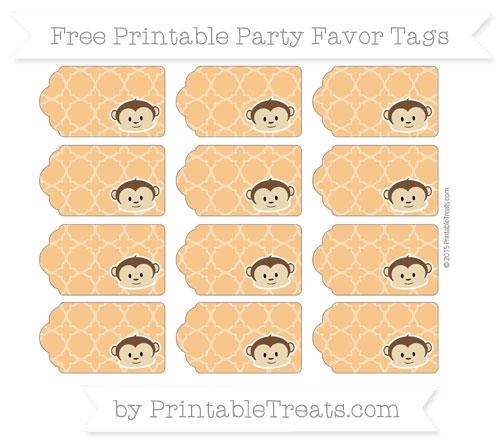 Free Carrot Orange Quatrefoil Pattern Boy Monkey Party Favor Tags
