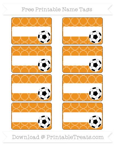 Free Carrot Orange Quatrefoil Pattern Soccer Name Tags
