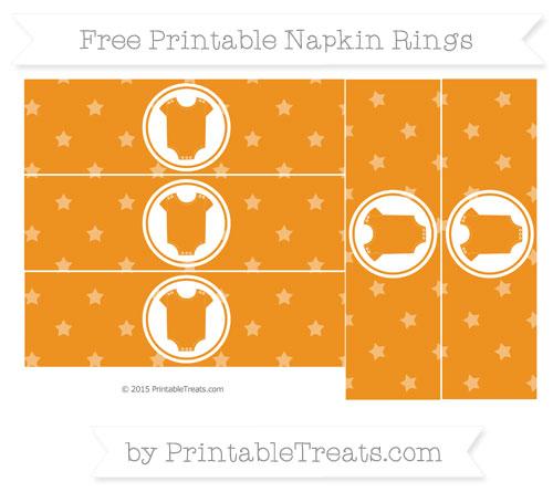 Free Carrot Orange Star Pattern Baby Onesie Napkin Rings