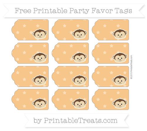 Free Carrot Orange Star Pattern Boy Monkey Party Favor Tags