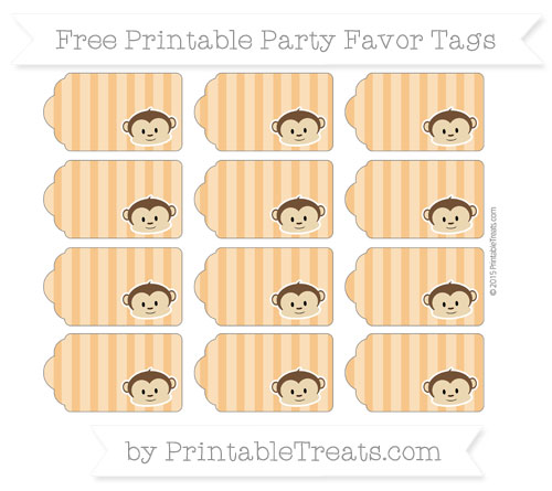 Free Carrot Orange Striped Boy Monkey Party Favor Tags