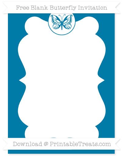 Free Cerulean Blue Blank Butterfly Invitation