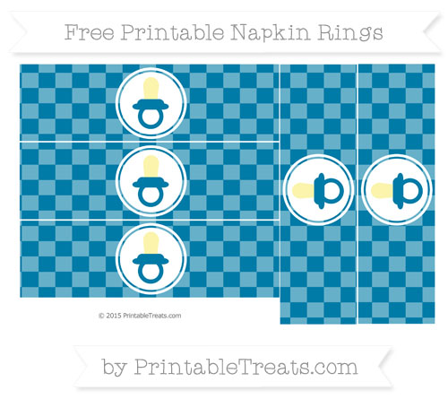 Free Cerulean Blue Checker Pattern Baby Pacifier Napkin Rings