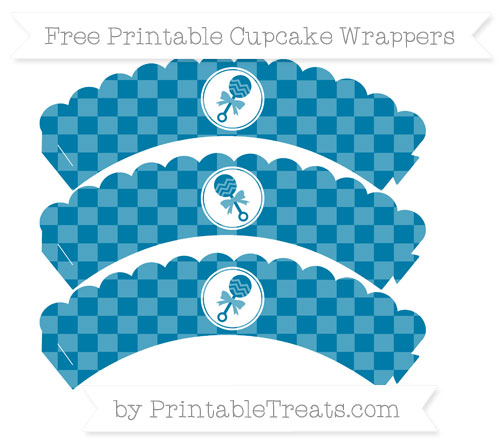 Free Cerulean Blue Checker Pattern Baby Rattle Scalloped Cupcake Wrappers