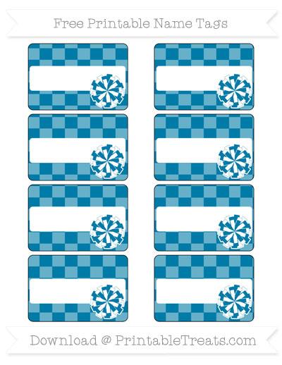 Free Cerulean Blue Checker Pattern Cheer Pom Pom Tags