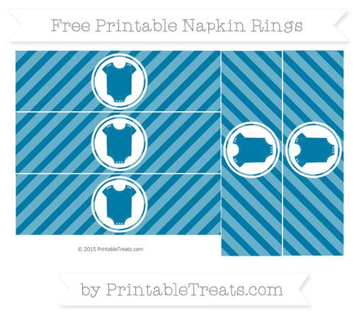 Free Cerulean Blue Diagonal Striped Baby Onesie Napkin Rings