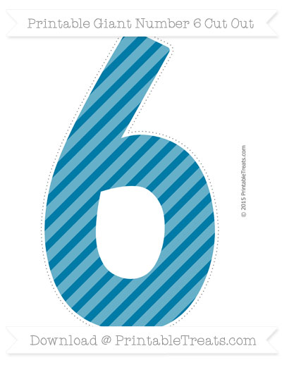 Free Cerulean Blue Diagonal Striped Giant Number 6 Cut Out