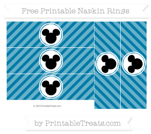 Free Cerulean Blue Diagonal Striped Mickey Mouse Napkin Rings
