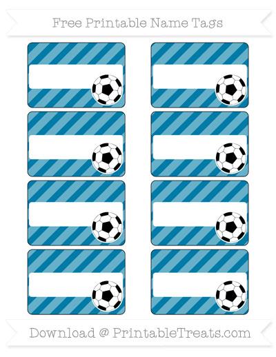 Free Cerulean Blue Diagonal Striped Soccer Name Tags
