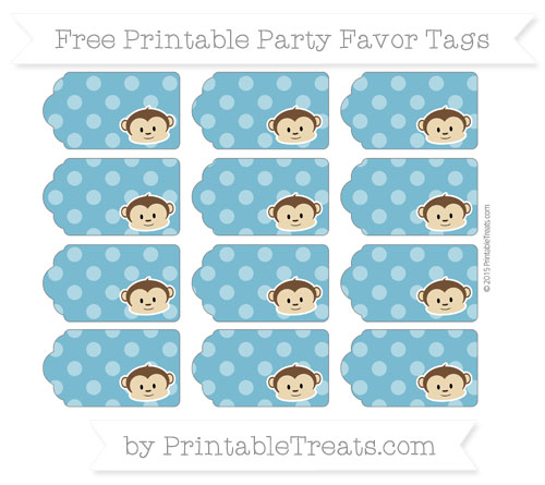 Free Cerulean Blue Dotted Pattern Boy Monkey Party Favor Tags