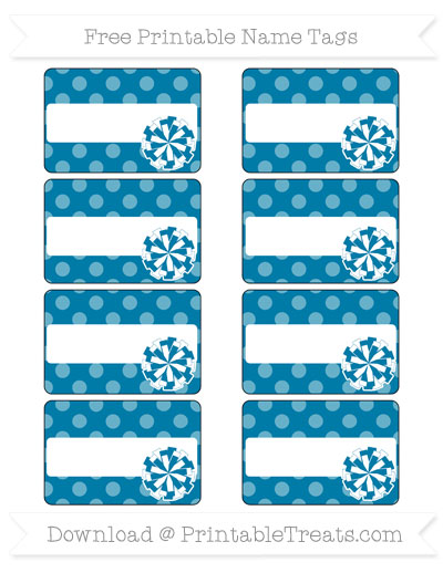 Free Cerulean Blue Dotted Pattern Cheer Pom Pom Tags