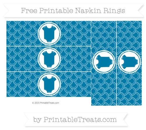 Free Cerulean Blue Fish Scale Pattern Baby Onesie Napkin Rings