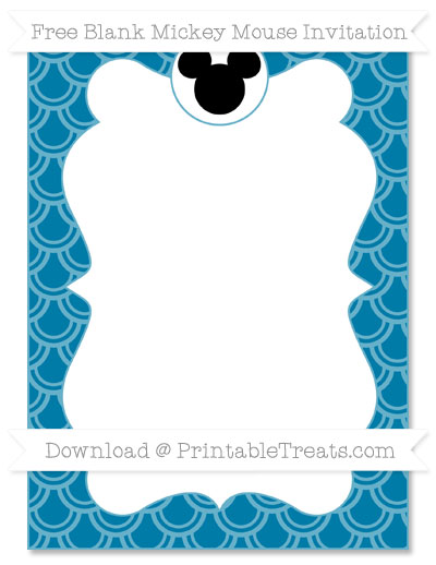 Free Cerulean Blue Fish Scale Pattern Blank Mickey Mouse Invitation