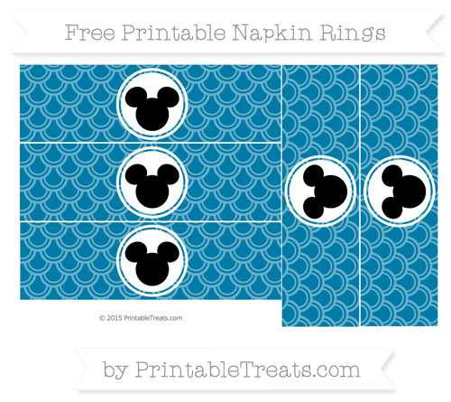 Free Cerulean Blue Fish Scale Pattern Mickey Mouse Napkin Rings