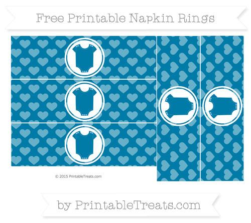 Free Cerulean Blue Heart Pattern Baby Onesie Napkin Rings