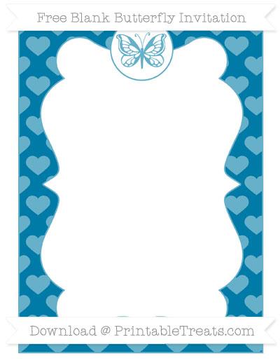 Free Cerulean Blue Heart Pattern Blank Butterfly Invitation