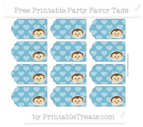 Free Cerulean Blue Heart Pattern Boy Monkey Party Favor Tags