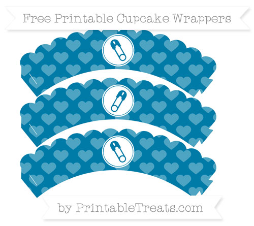 Free Cerulean Blue Heart Pattern Diaper Pin Scalloped Cupcake Wrappers