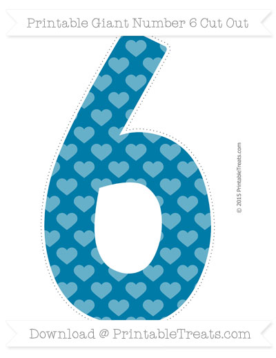 Free Cerulean Blue Heart Pattern Giant Number 6 Cut Out