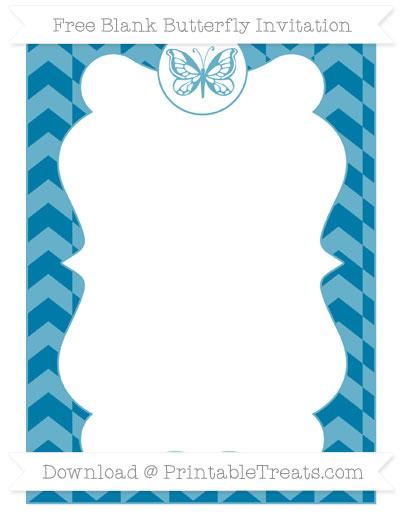 Free Cerulean Blue Herringbone Pattern Blank Butterfly Invitation