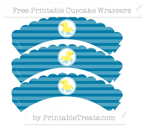 Free Cerulean Blue Horizontal Striped Baby Duck Scalloped Cupcake Wrappers
