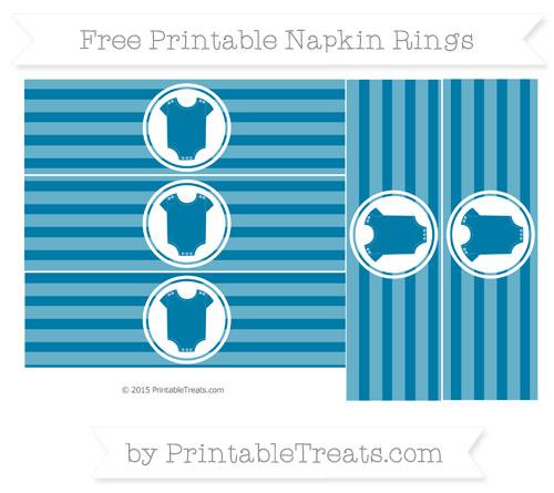 Free Cerulean Blue Horizontal Striped Baby Onesie Napkin Rings