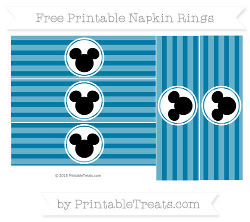 Free Cerulean Blue Horizontal Striped Mickey Mouse Napkin Rings