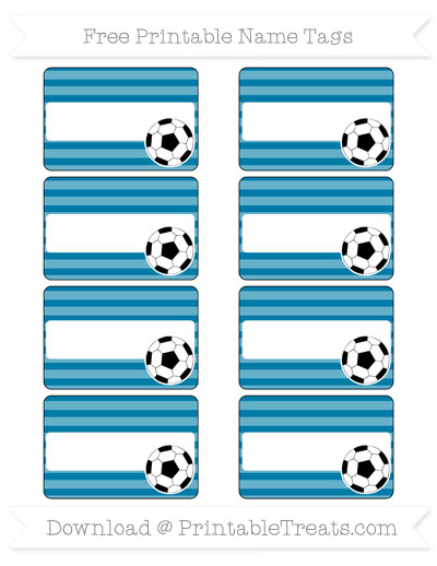 Free Cerulean Blue Horizontal Striped Soccer Name Tags