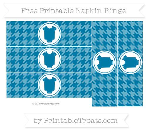 Free Cerulean Blue Houndstooth Pattern Baby Onesie Napkin Rings