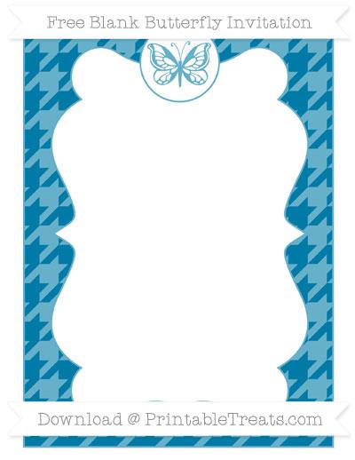 Free Cerulean Blue Houndstooth Pattern Blank Butterfly Invitation