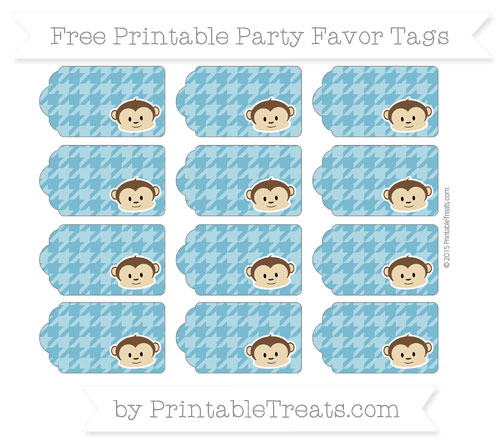 Free Cerulean Blue Houndstooth Pattern Boy Monkey Party Favor Tags
