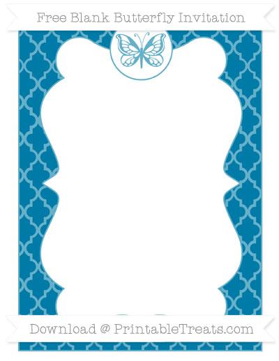 Free Cerulean Blue Moroccan Tile Blank Butterfly Invitation