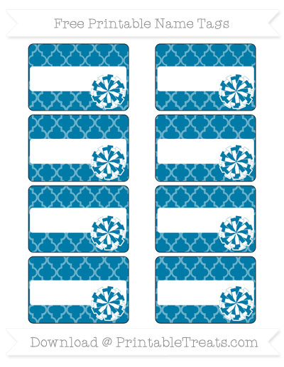 Free Cerulean Blue Moroccan Tile Cheer Pom Pom Tags