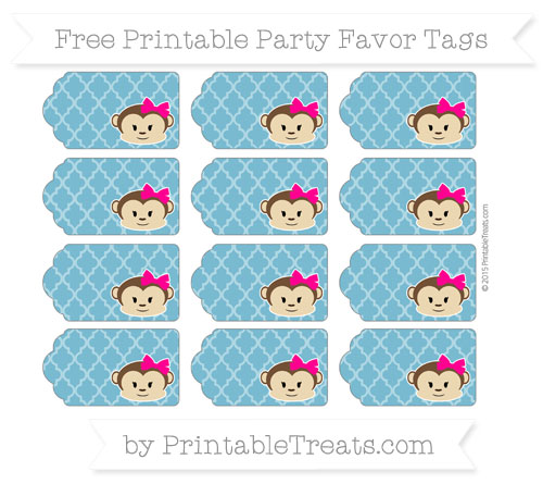 Free Cerulean Blue Moroccan Tile Girl Monkey Party Favor Tags