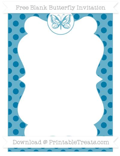 Free Cerulean Blue Polka Dot Blank Butterfly Invitation