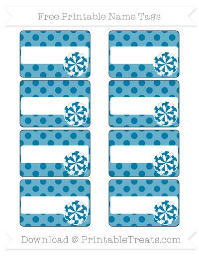 Free Cerulean Blue Polka Dot Cheer Pom Pom Tags