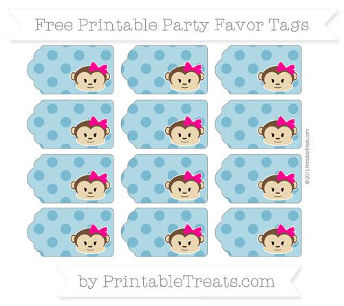 Free Cerulean Blue Polka Dot Girl Monkey Party Favor Tags
