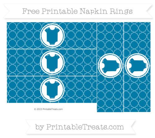 Free Cerulean Blue Quatrefoil Pattern Baby Onesie Napkin Rings