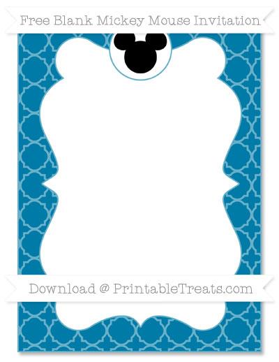 Free Cerulean Blue Quatrefoil Pattern Blank Mickey Mouse Invitation