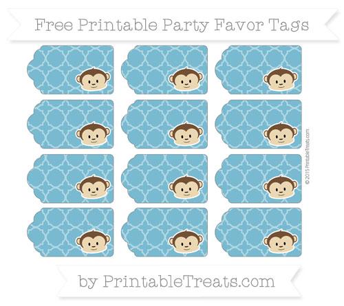 Free Cerulean Blue Quatrefoil Pattern Boy Monkey Party Favor Tags