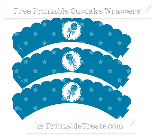 Free Cerulean Blue Star Pattern Baby Rattle Scalloped Cupcake Wrappers