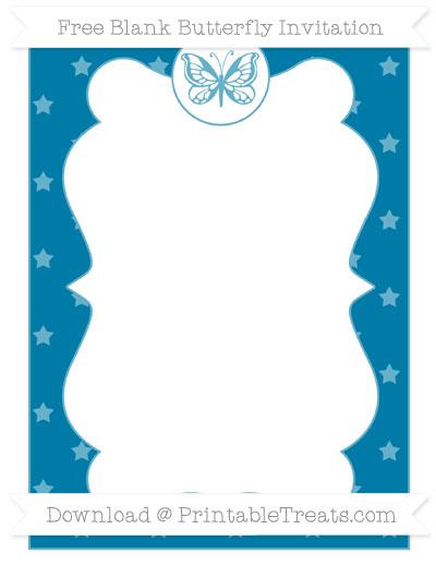 Free Cerulean Blue Star Pattern Blank Butterfly Invitation