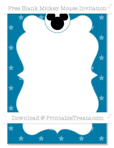 Free Cerulean Blue Star Pattern Blank Mickey Mouse Invitation