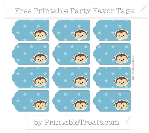 Free Cerulean Blue Star Pattern Boy Monkey Party Favor Tags