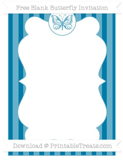 Free Cerulean Blue Striped Blank Butterfly Invitation