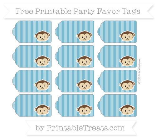 Free Cerulean Blue Striped Boy Monkey Party Favor Tags