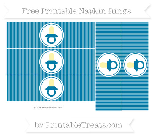 Free Cerulean Blue Thin Striped Pattern Baby Pacifier Napkin Rings